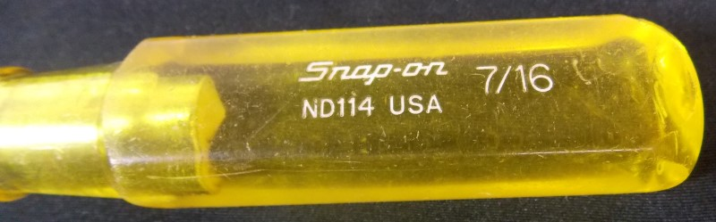 """SNAP ON 6 PIECE SAE NUT DRIVER SET 1/2"""" THROUGH 1/4"""", MISSING 3/8"""""""
