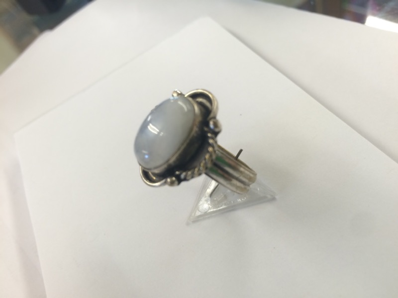 Synthetic Moonstone Lady's Silver & Stone Ring 925 Silver 3.26dwt Size:8
