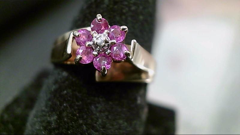 Pink Stone Lady's Stone & Diamond Ring .01 CT. 10K Yellow Gold 2.5g