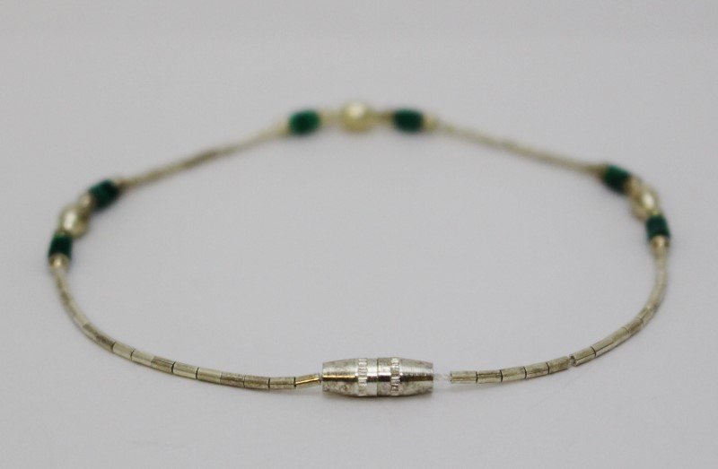 "7"" Sterling Silver Beaded Malachite Screw Clasp Bracelet"