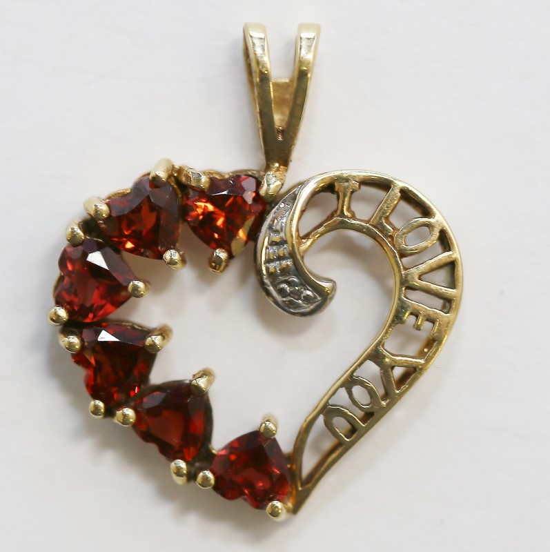 "14K Y/G Heart Shaped ""I Love You"" Heart Cut Almandite Garnet Pendant"