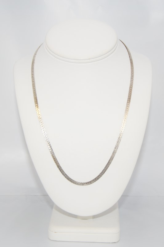 """18"""" Sterling Silver Herringbone Chain Necklace"""