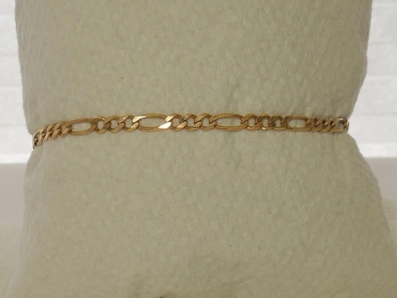 Gold Figaro Bracelet 14K Yellow Gold 3.1g