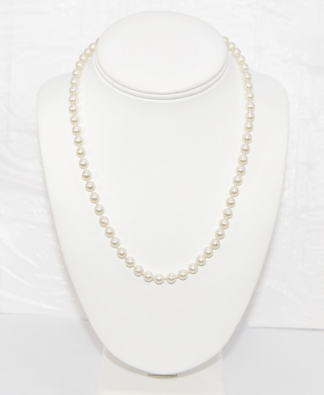 """18"""" Synthetic Pearl Strand Stone Necklace Antique Stainless 18.09g"""