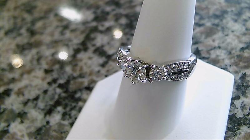 Lady's Diamond Engagement Ring 19 Diamonds 1.26 Carat T.W. 14K White Gold 5.9g