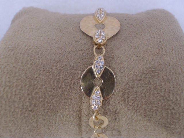 Synthetic Cubic Zirconia Gold-Stone Bracelet 21K Yellow Gold 8.3g