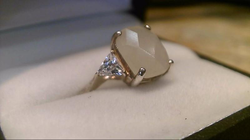 Fancy Cut Lady's Silver & Stone Ring 925 Silver 3.33g