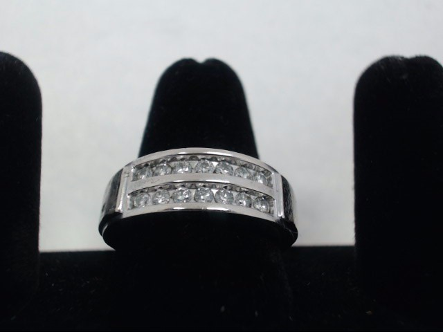 Gent's Gold-Diamond Wedding Band 14 Diamonds .70 Carat T.W. 10K White Gold 6.6g