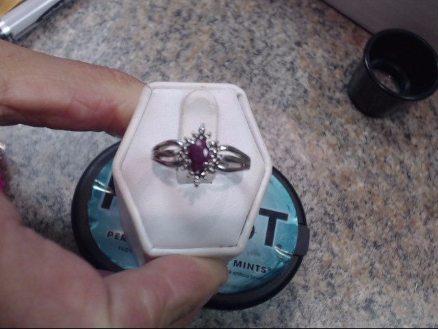 Synthetic Ruby Lady's Silver & Stone Ring 925 Silver 2.3dwt