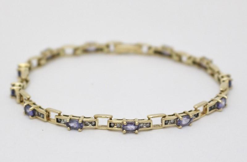 "14K Yellow Gold Oval Tanzanite & Diamond Tennis Chain Bracelet 6.5"""