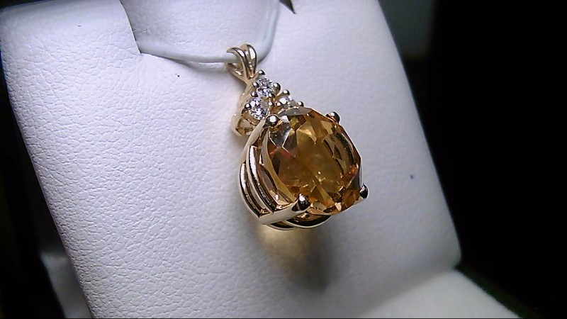 Citrine Gold-Diamond & Stone Pendant 3 Diamonds .27 Carat T.W.