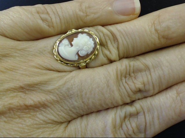 VINTAGE OVAL CAMEO RING SOLID REAL 18K YELLOW GOLD BEZEL SET SZ 5.75