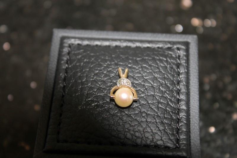 5mm White Pearl Round Diamond Yellow Gold Pendant YG
