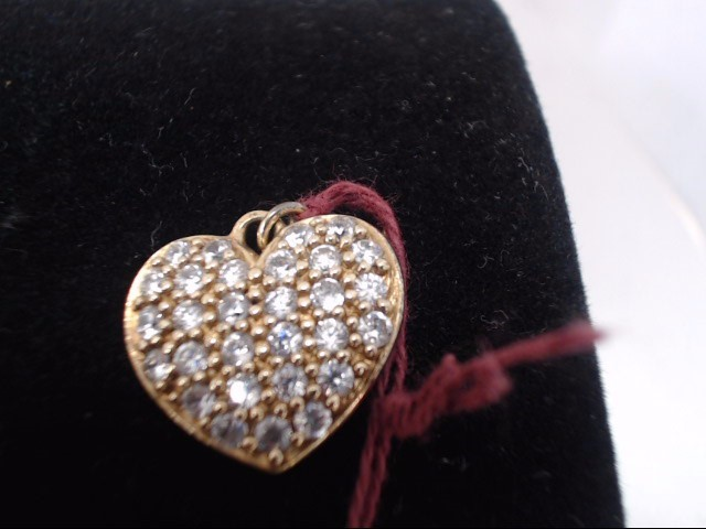 Synthetic Cubic Zirconia Gold-Stone Pendant 10K Yellow Gold 1.7g