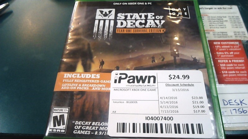 Microsoft XBOX One Game STATE OF DECAY