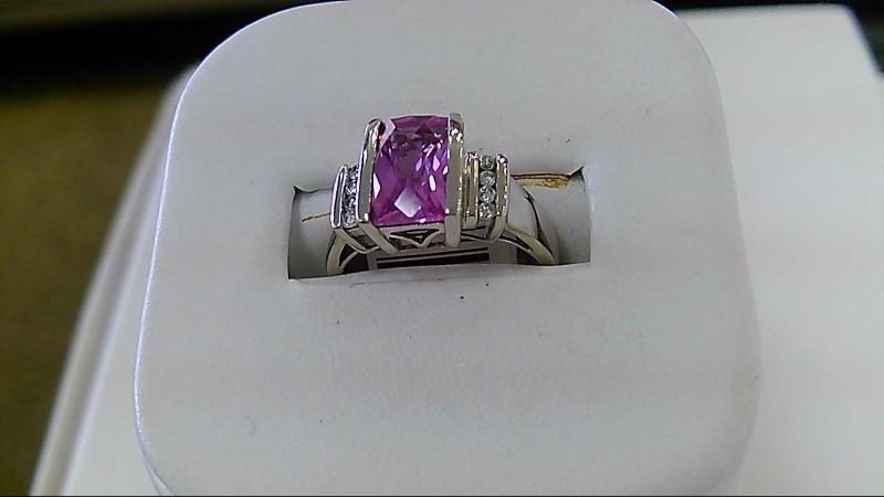 Synthetic Pink Sapphire Lady's Stone & Diamond Ring 8 Diamonds .08 Carat T.W.