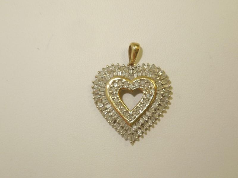 Gold-Diamond Solitaire Pendant 105 Diamonds 1.25 Carat T.W. 10K Yellow Gold