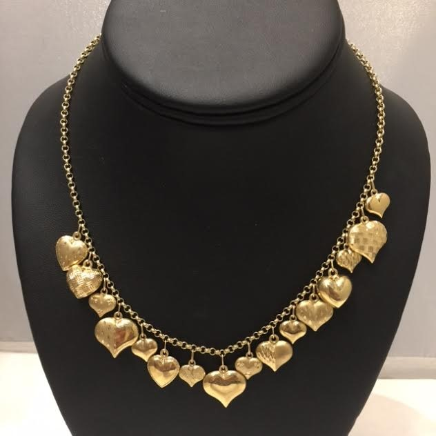 14K Yellow Heart Charms Gold Fashion Necklace