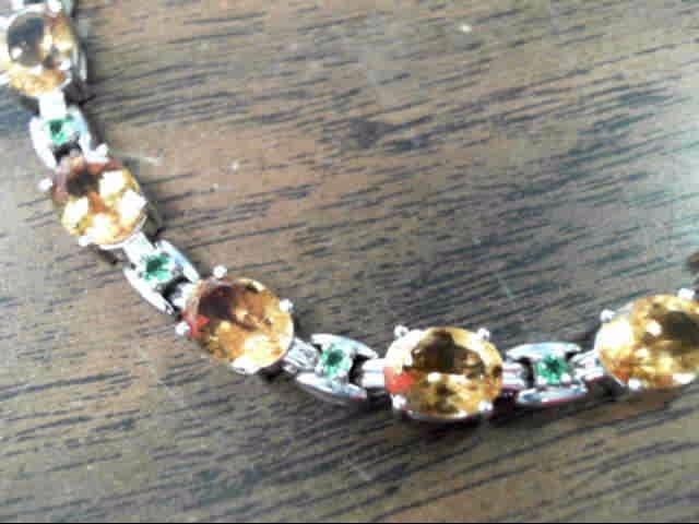 Synthetic Orange Tourmaline Silver-Stone Bracelet 925 Silver 8.9dwt