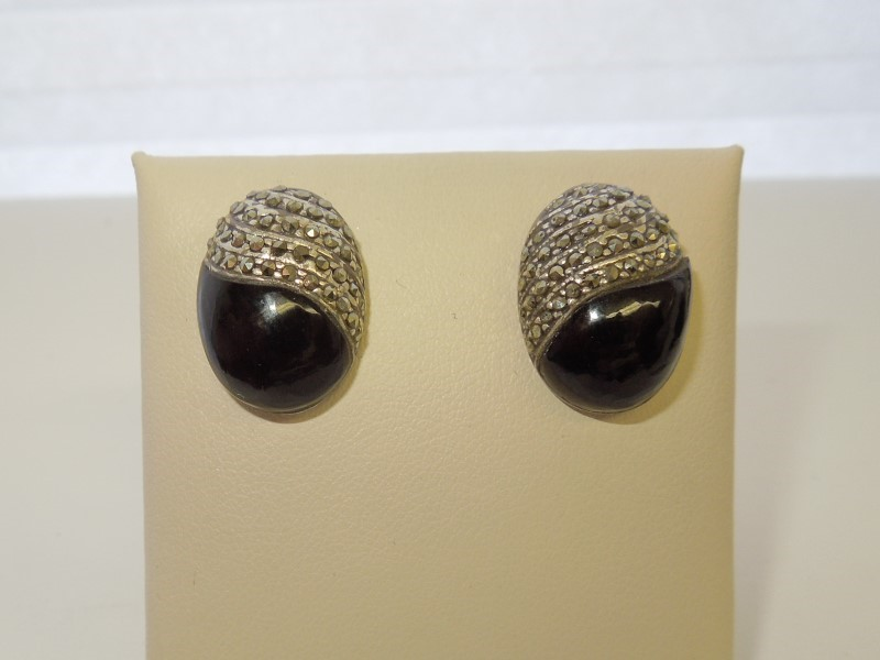 Black Stone Silver-Stone Earrings 925 Silver 9.7g
