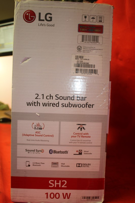 100W Sound Bar LG Electronics 2.1 Channel Subwoofer Bluetooth Home Theater SH2