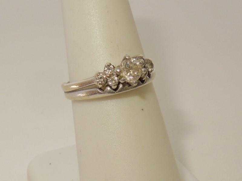 Lady's Diamond Wedding Set 7 Diamonds .43 Carat T.W. 14K White Gold 3.9g