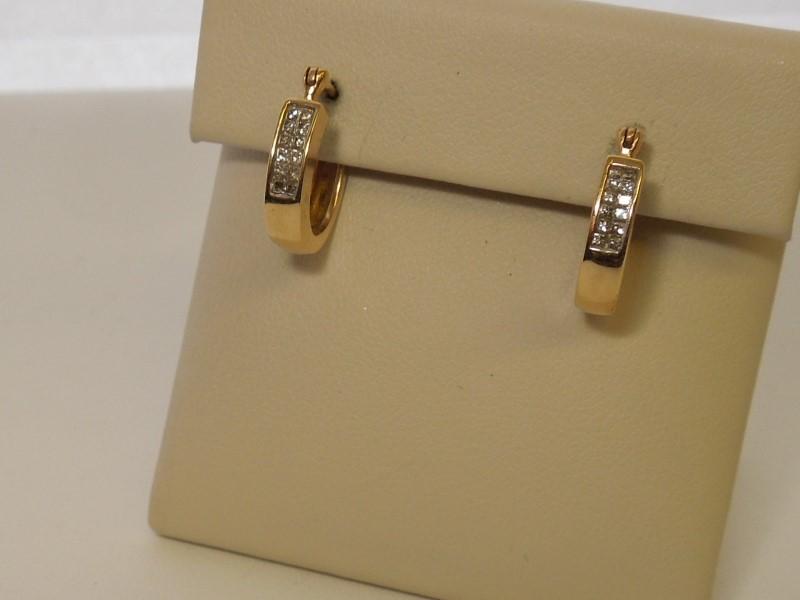 Gold-Diamond Earrings 24 Diamonds .24 Carat T.W. 14K Yellow Gold 3.4g