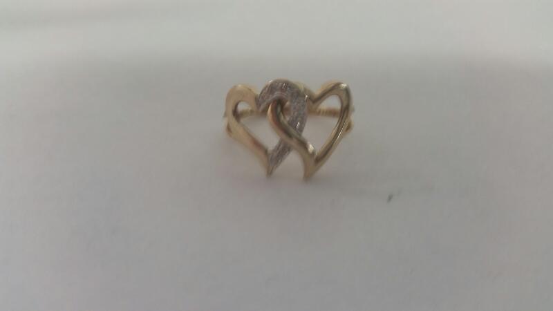 Lds 14K-YG Double Heart Ring