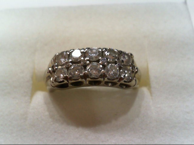 Lady's Diamond Cluster Ring 10 Diamonds 1.20 Carat T.W. 14K White Gold 4.5g