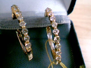 Gold-Diamond Earrings 24 Diamonds 1.20 Carat T.W. 14K Yellow Gold 4.2g