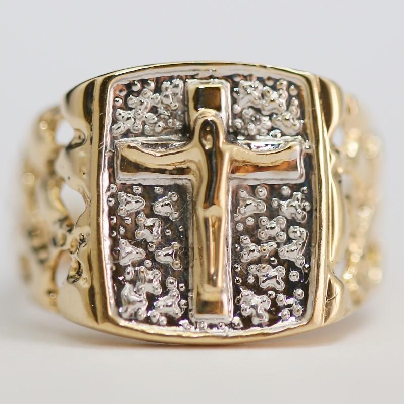 10K Yellow Gold Crucifix Fashion Ring Size 10