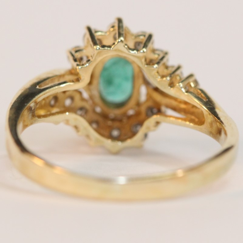 Vintage Inspired 10K Yellow Gold Emerald and Diamond Ring Size 9
