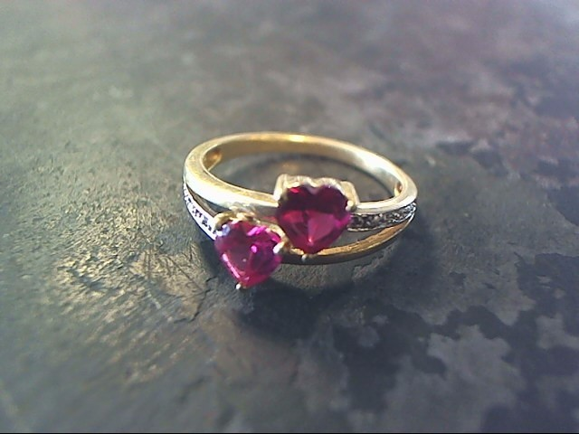 Pink Stone Lady's Stone Ring 10K Yellow Gold 1.2dwt