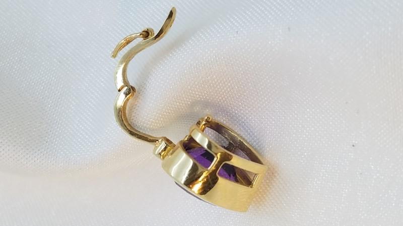 Amethyst Diamond & Stone Necklace .01 CT. 14K Yellow Gold 6.6g