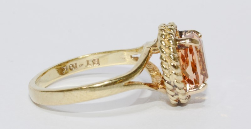 10K Yellow Gold Large Oval Citrine Split Shank Rope Detail Ring sz 8