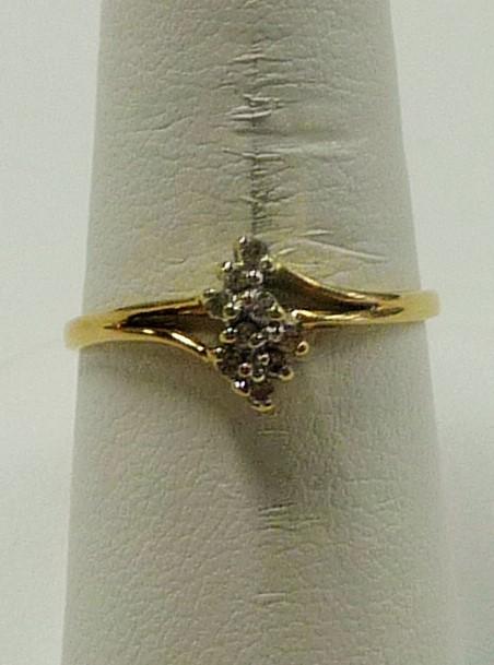 Lady's Diamond Cluster Ring 9 Diamonds .27 Carat T.W. 14K Yellow Gold 1.03dwt