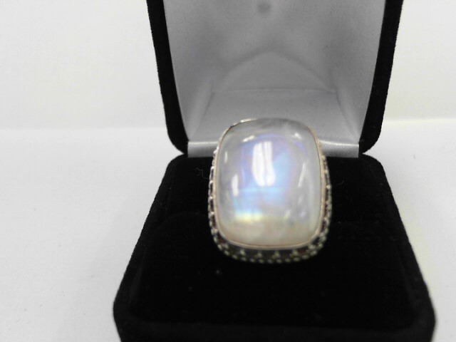 Synthetic Moonstone Lady's Silver & Stone Ring 925 Silver 9.7dwt