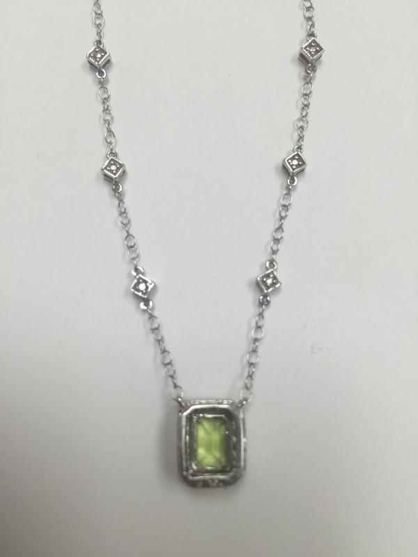 "16"" Peridot Diamond & Stone Necklace 8 Diamonds .040 Carat T.W. 10K White Gold"