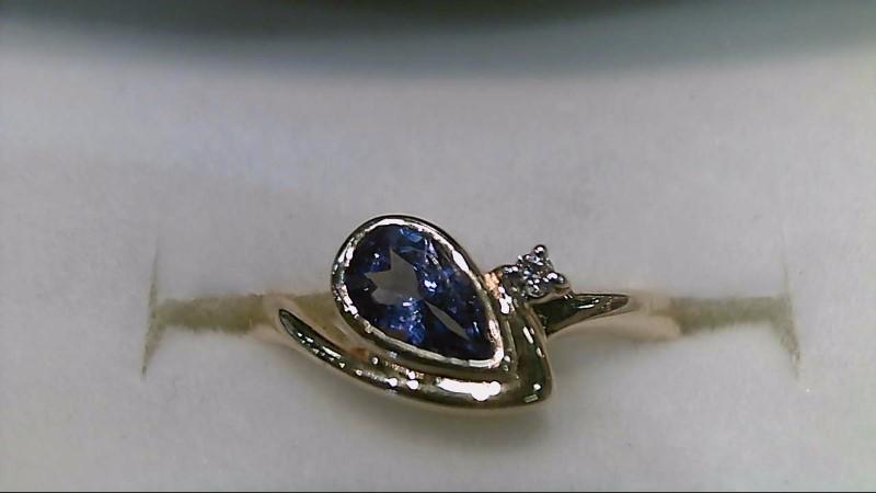 Synthetic Tanzanite Lady's Stone & Diamond Ring .01 CT. 14K Yellow Gold 2.8g