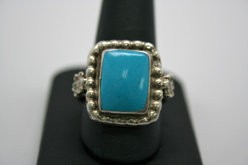 FASHION STYLE TURQUOISE SILVER RING 12.5