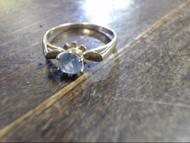 Blue Stone Lady's Stone Ring 10K Yellow Gold 1.5g Size:6