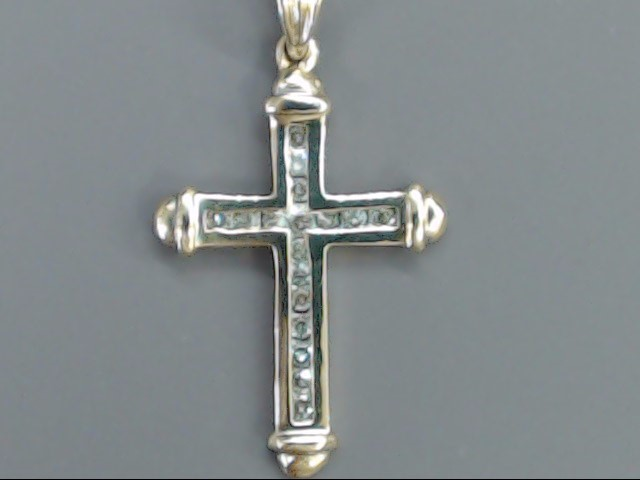 VINTAGE DIAMOND CROSS PENDANT CHARM SOLID REAL 14K GOLD RELIGIOUS