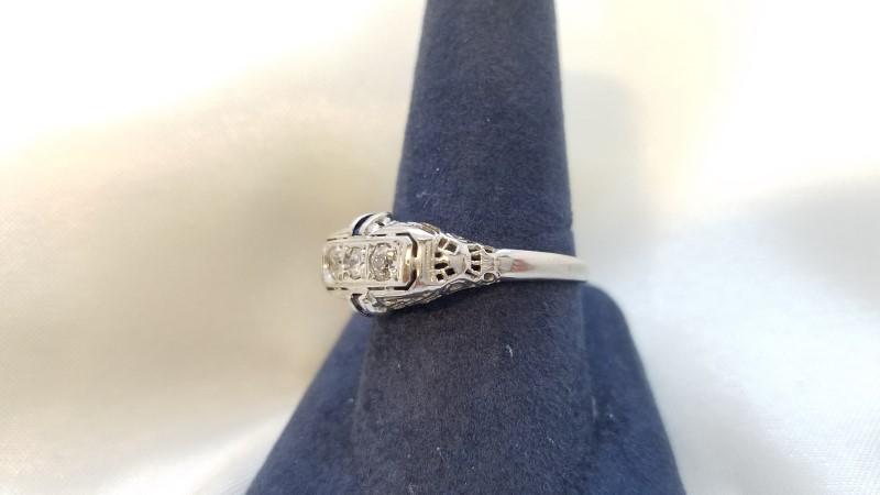 Lady's Diamond Fashion Ring 3 Diamonds .26 Carat T.W. 14K White Gold 3.1g