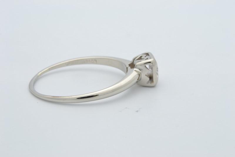 ESTATE DIAMOND RING SOLID 14K WHITE GOLD ENGAGEMENT WEDDING SZ 7.75