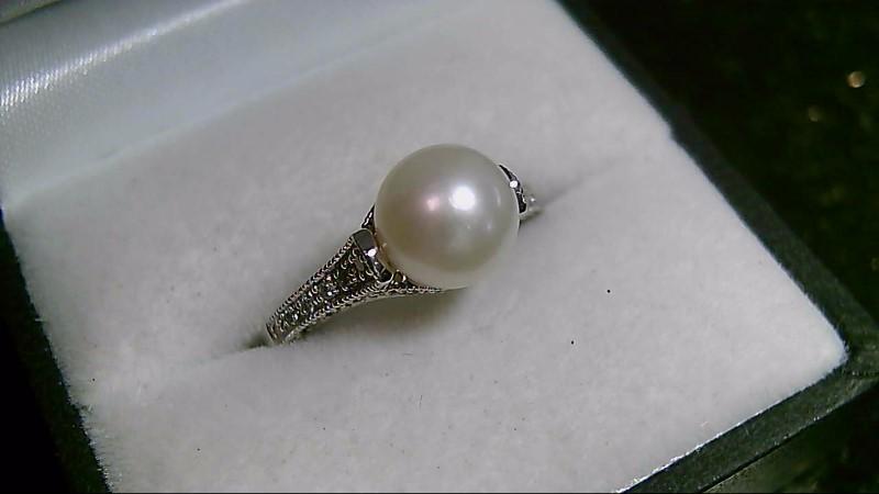 8mm White Pearl Brilliant Cut Diamond Ring