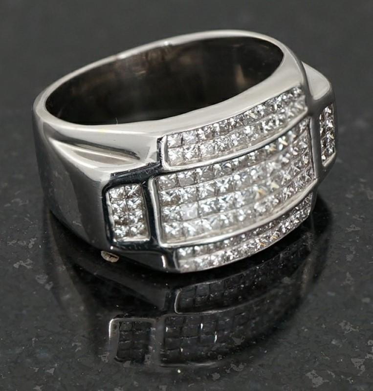 Gent's Diamond Cluster Ring 96 Diamonds 2.88 Carat T.W. 14K White Gold 8.2dwt