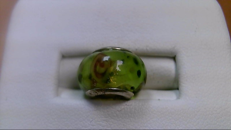 Green and Pink Glass Bead 925 Silver
