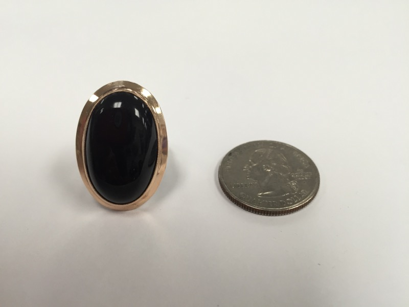 Vintage ladies black onyx silver and gold ring 8.1g Size:6