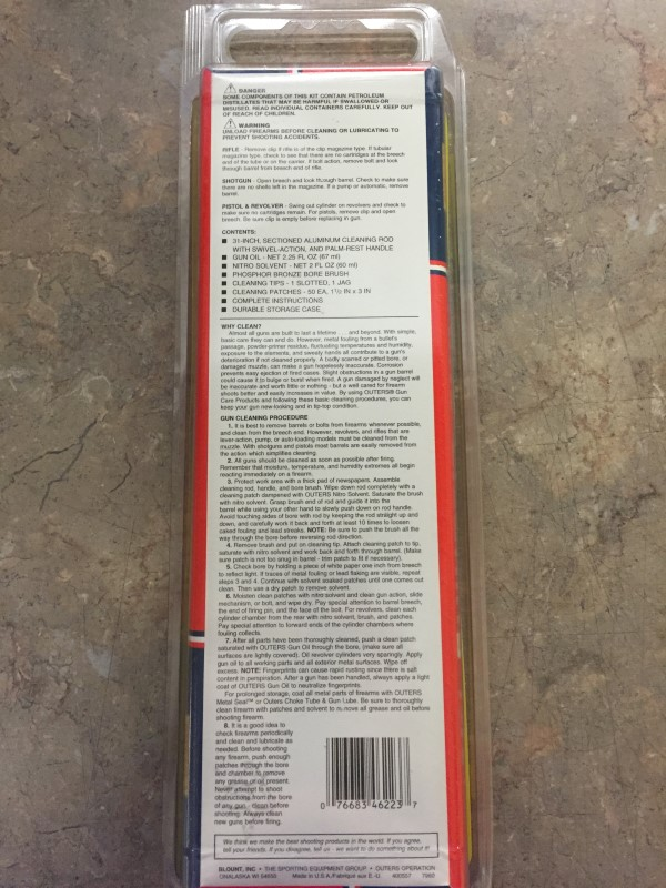 """OUTERS RIFLE CLEANING KIT CAL. 30/300/308/30-06/30-30/8MM """"46223"""""""