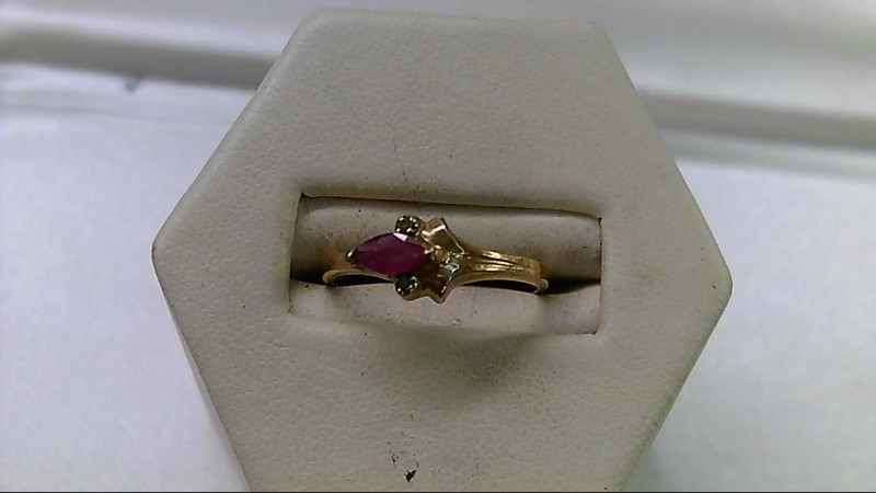 Synthetic Ruby Lady's Stone & Diamond Ring 2 Diamonds .010 Carat T.W.